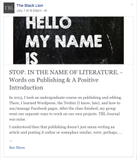 FB Note: Stop. In The Name of Literature.