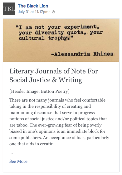 Lit Journals of note   The Black Lion Journal