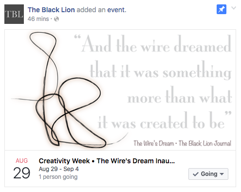 Creativity Week | The Black Lion Journal | August 29th to September 4th