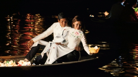 Hoi An – October Lantern Festival Lanterns in the river : Lights out on the bridge : Wishes and hopes let loose under a full moon. | The Black Lion Journal | The Black Lion