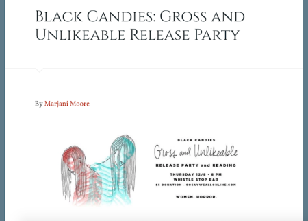 Black Candies: Gross and Unlikable • The Literary Horror and Dark Fiction Anthology Featuring 28 Women-Identifed (And Untamed) Individuals | Oracle Reviews At Whistle Stop Bar