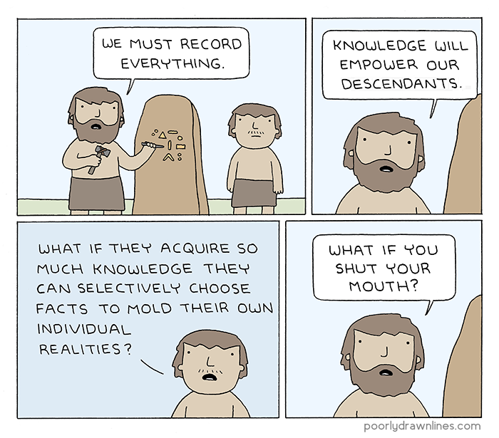 Comics, funnies #6thDayFunnies | 'Knowledge' | Poorly Drawn Lines | BL | Black Lion Journal | Black Lion