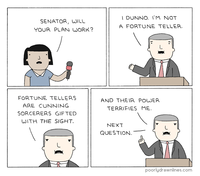 #6thDayFunnies: 'The Senator's Plan'   Poorly Drawn Lines   BL   Black Lion Journal