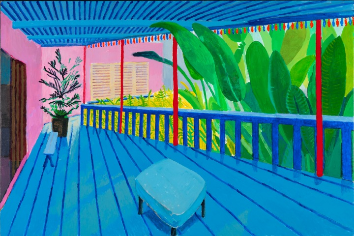 Garden-with-Blue-Terrace | David Hockney: 60 Years of Work at Tate Britain | Changing Pages #Art | BL | Black Lion Journal | Black Lion