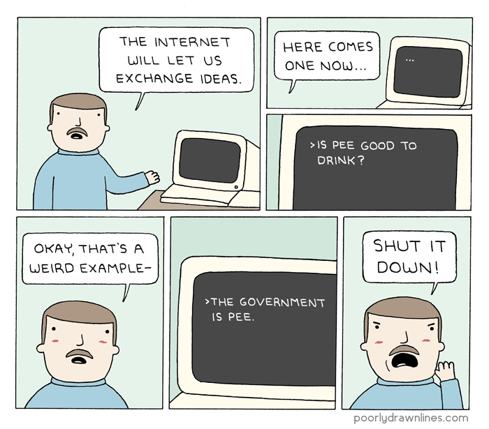 #6thDayFunnies: 'Early Internet' | Poorly Drawn Lines | BL | Black Lion Journal | Black Lion