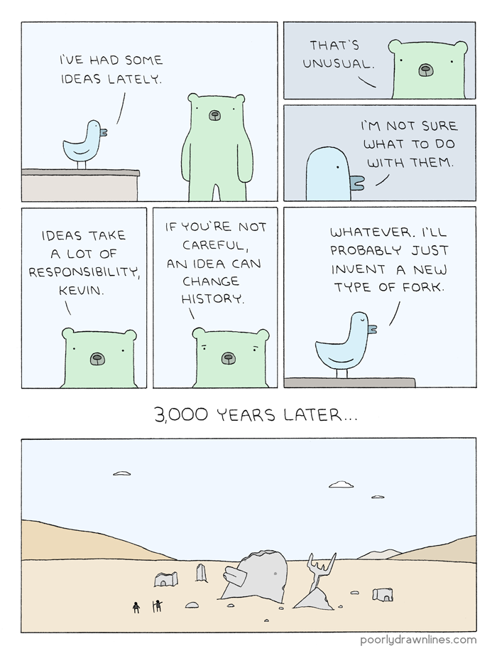 #6thDayFunnies: 'Kevin's Ideas' | Poorly Drawn Lines | BL | Black Lion Journal | Black Lion