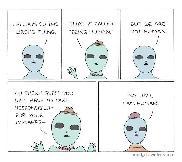 #6thDayFunnies: 'Being Human' | Poorly Drawn Lines | BL | Black Lion Journal | Black Lion