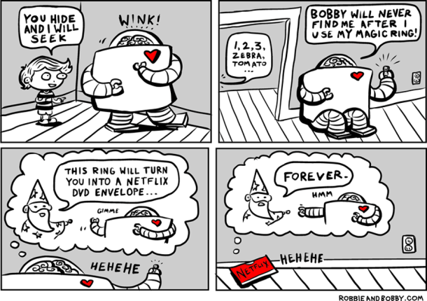 Comic book image of a robot and his friend titled 'Hide And Seek' - About: The robot is playing hide and seek with his friend and decides to use a magic ring to turn himself into a Netflix video envelope, unknowingly turning into an envelope forever | Article title: #6thDayFunnies: 'Hide And Seek' | Robbie & Bobby Comics | From: BL | Black Lion Journal | Black Lion