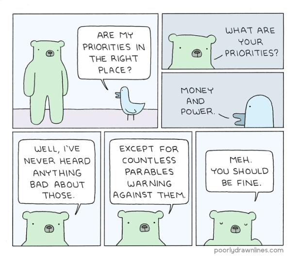 #6thDayFunnies: 'Priorities' | Poorly Drawn Lines | BL | Black Lion Journal | Black Lion