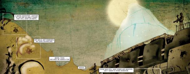 Bone Machine comic water transport | 'Bone Machine' Returns To A Well-Fed, Well-Hydrated Fat Cat In A Dystopian Future By Diego Cortés & Nicolas Brondo | Rachel McGill | BL | Black Lion Journal | Black Lion
