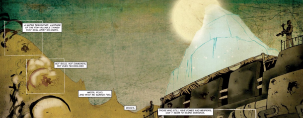 Bone Machine comic water transport | 'Bone Machine' Returns To A Well-Fed, Well-Hydrated Fat Cat In A Dystopian Future By Diego Cortés & Nicolas Brondo | Rachel McGill | BL | Black Lion Journal | Black Lion