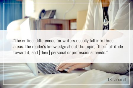 The critical differences for writers usually fall into three areas: the reader's knowledge about the topic; [their] attitude toward it, and [their] personal or professional needs.Lynda Flower-Writing For An Audience Essay-Successful Writers Know That Writing For A Stranger More Often Means That You Have To Find Common Ground Somewhere — But How? | BL | Black Lion Journal | Black Lion